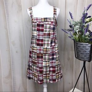 J. Crew Burgundy Mattress Plaid Swing Dress